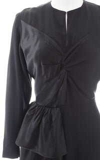 1940s Black Rayon Satin Hip Sash Evening Dress