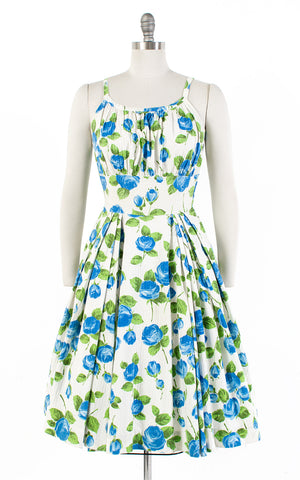 SOLD || 1950s Blue Rose Cotton Sundress | small/medium