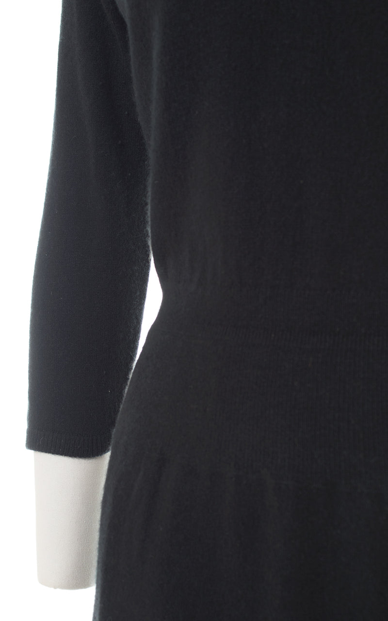 1950s Black Cashmere Knit Sweater Dress