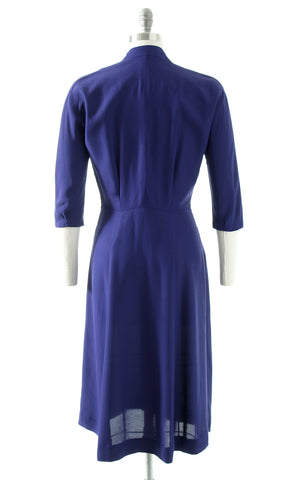 1940s Beaded Soutache Purple Rayon Dress