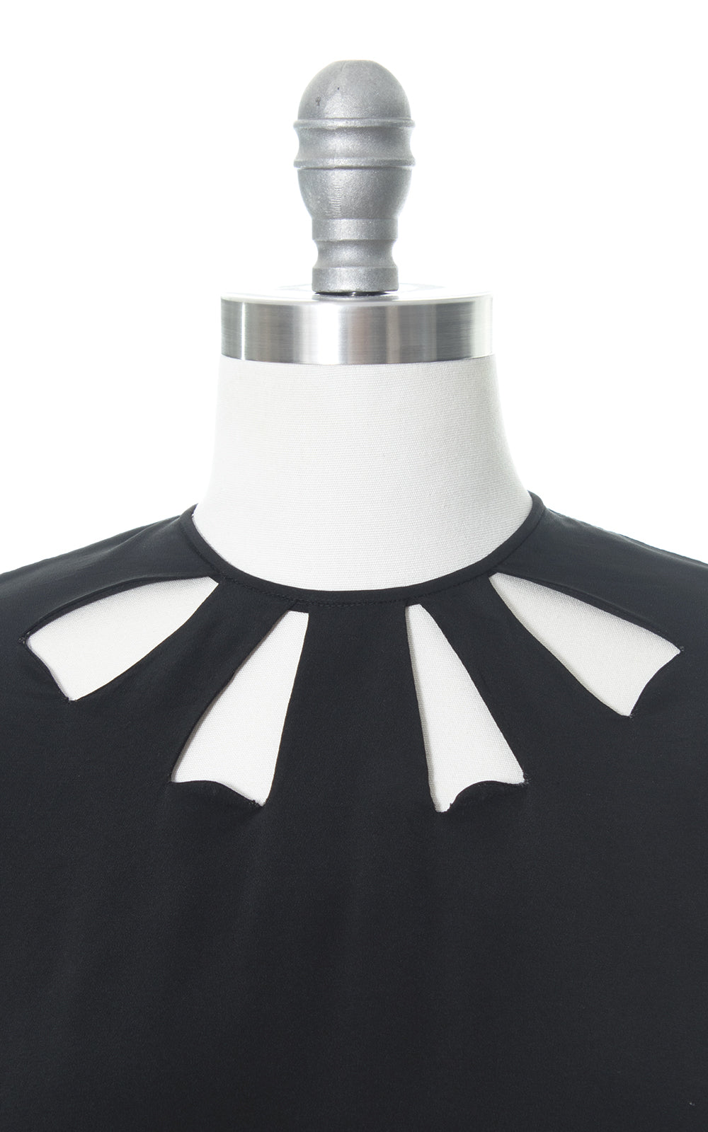 1940s Cutout Black Rayon Button Back Blouse
