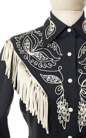 1940s Western Embroidered Gabardine Blouse with Leather Fringe