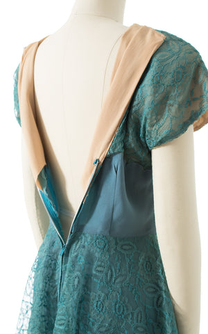 1940s Teal Rayon & Lace Peplum Cocktail Dress | small