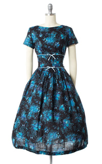 1950s Blue Floral Cotton Day Dress