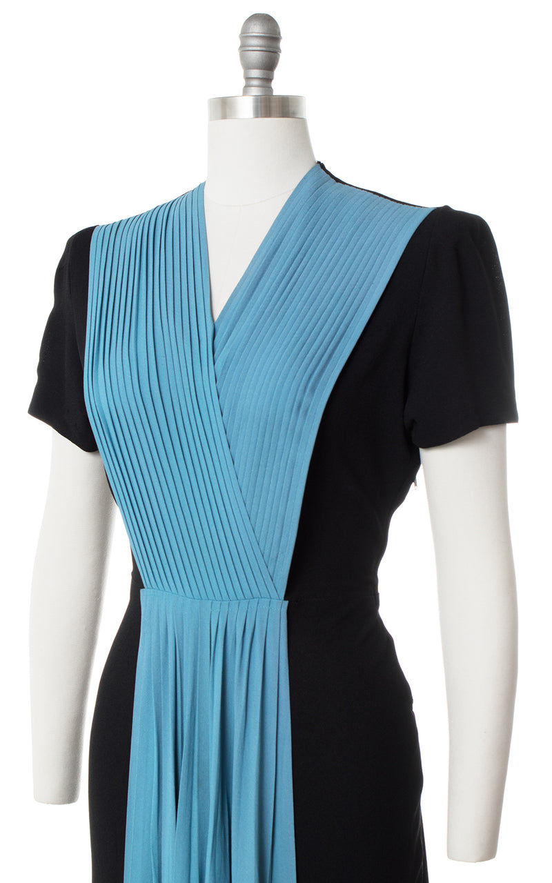 1940s Color Block Rayon Black Blue Gown