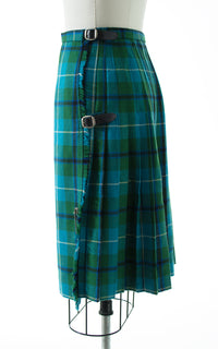 1960s Tartan Wool Pleated Kilt Skirt