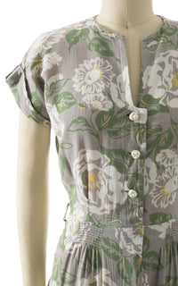 1940s Floral Cotton Shirtwaist Day Dress