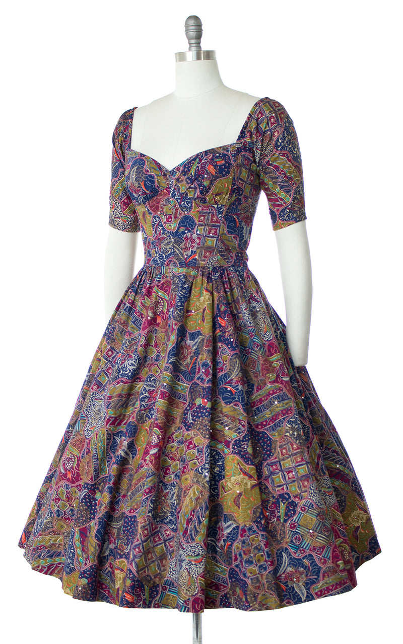 1950s Tina Leser Floral Rhinestone Off Shoulder Dress