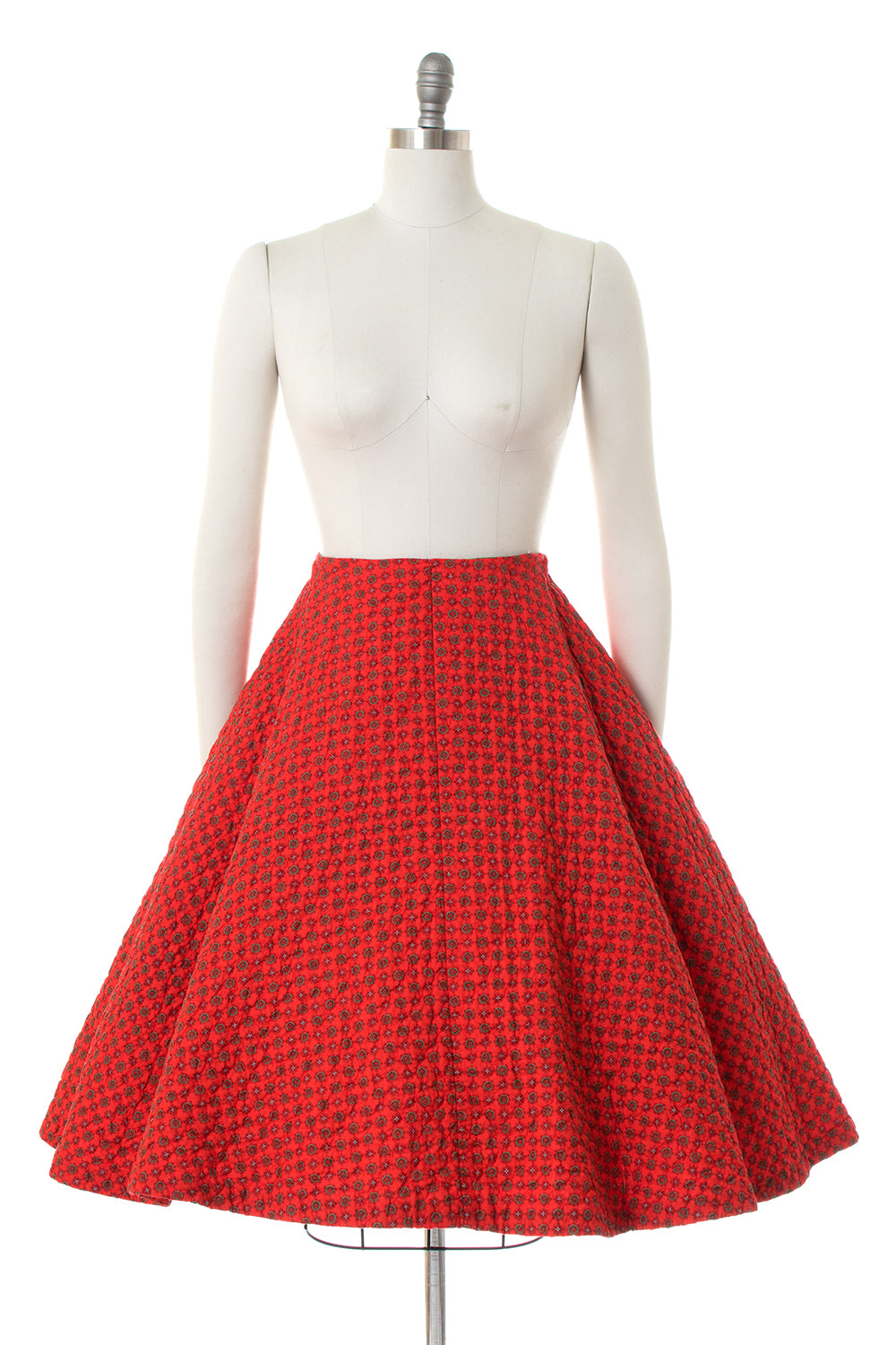 1950s Geometric Printed Cotton Circle Skirt