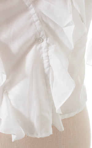 1980s Ruffled Wrap Blouse