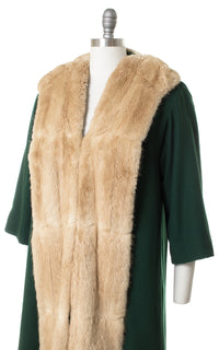 1940s Forest Green Wool & Fur Coat