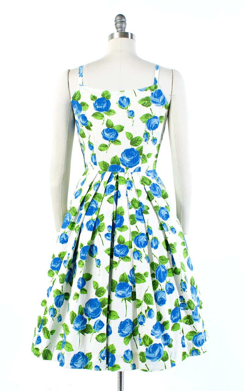 1950s Blue Rose Cotton Sundress | small/medium