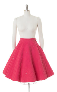1950s Rhinestone Pink Quilted Corduroy Circle Skirt