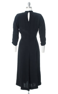 1940s Black Rayon Satin Striped Wiggle Dress