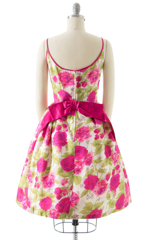 1960s Rose Printed Silk Party Dress