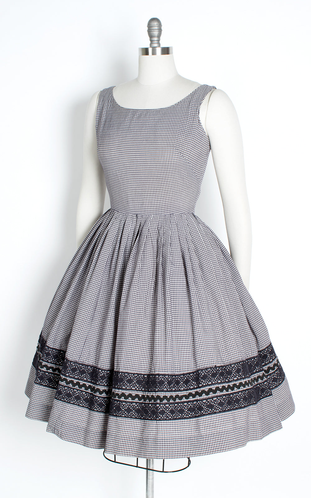 1950s Gingham Cotton Sundress with Bolero