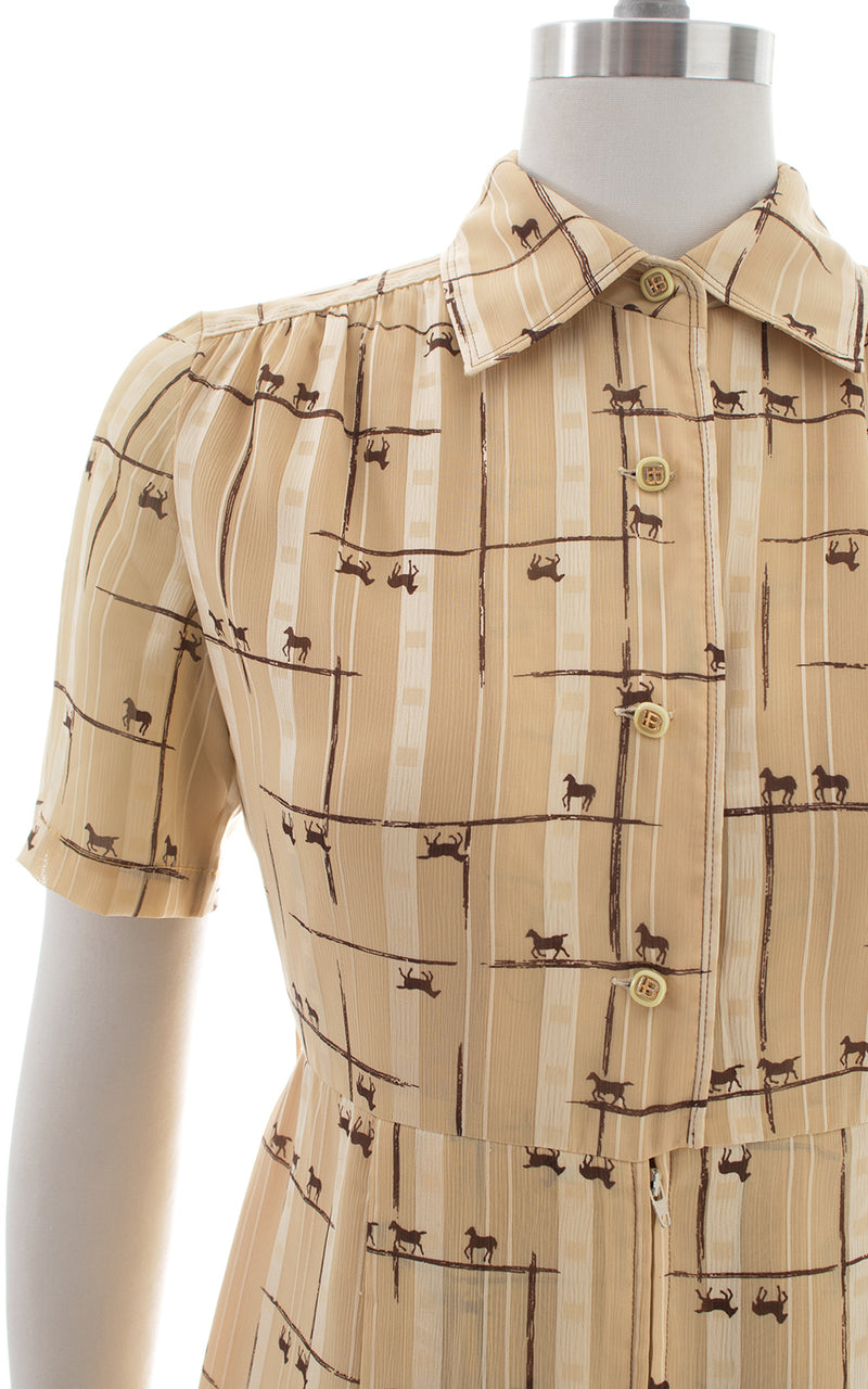 1980s Horse Novelty Print Shirtwaist Dress