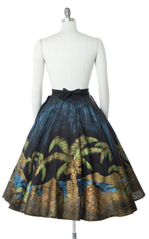 1950s Mexican Novelty Print Hand-Painted Circle Skirt