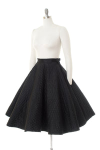 1950s Black Quilted Circle Skirt