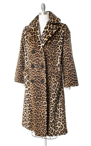 1960s Leopard Print Faux Fur Double Breasted Long Coat