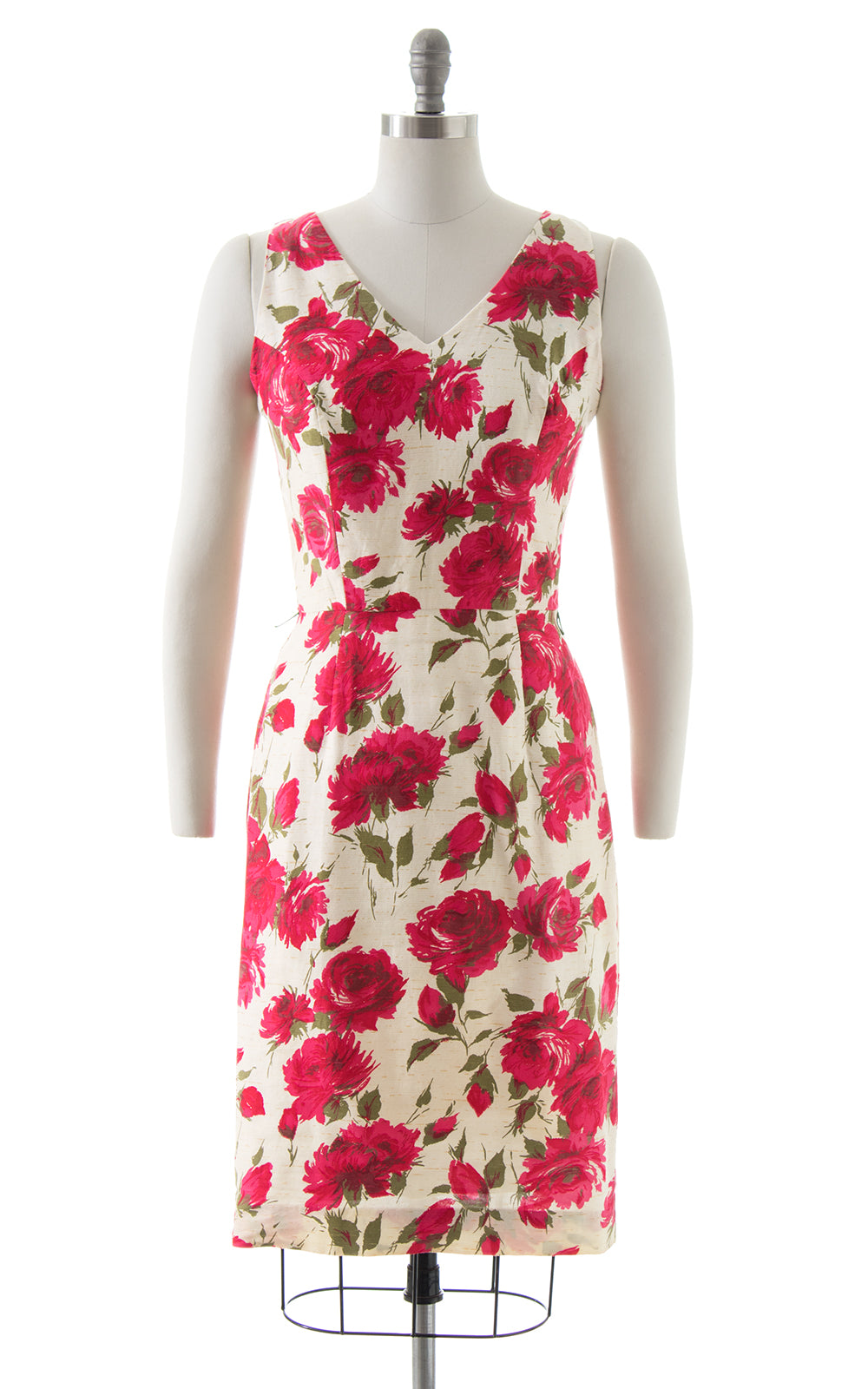 1960s Pink Rose Wiggle Dress
