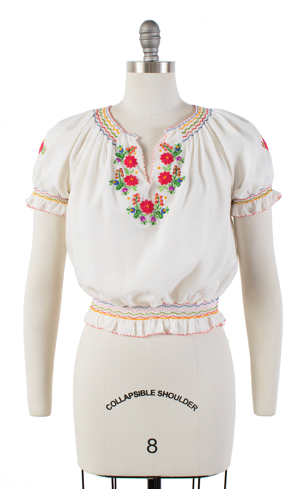 1970s Floral Embroidered Cropped Peasant Top