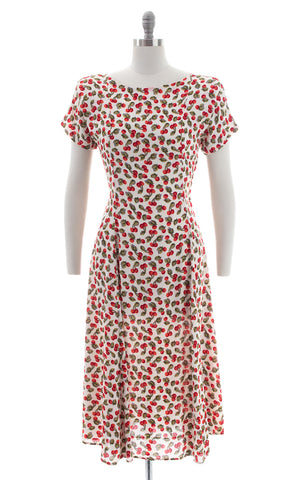 1990s Cherry Print Rayon Crepe Lace-Up Midi Dress