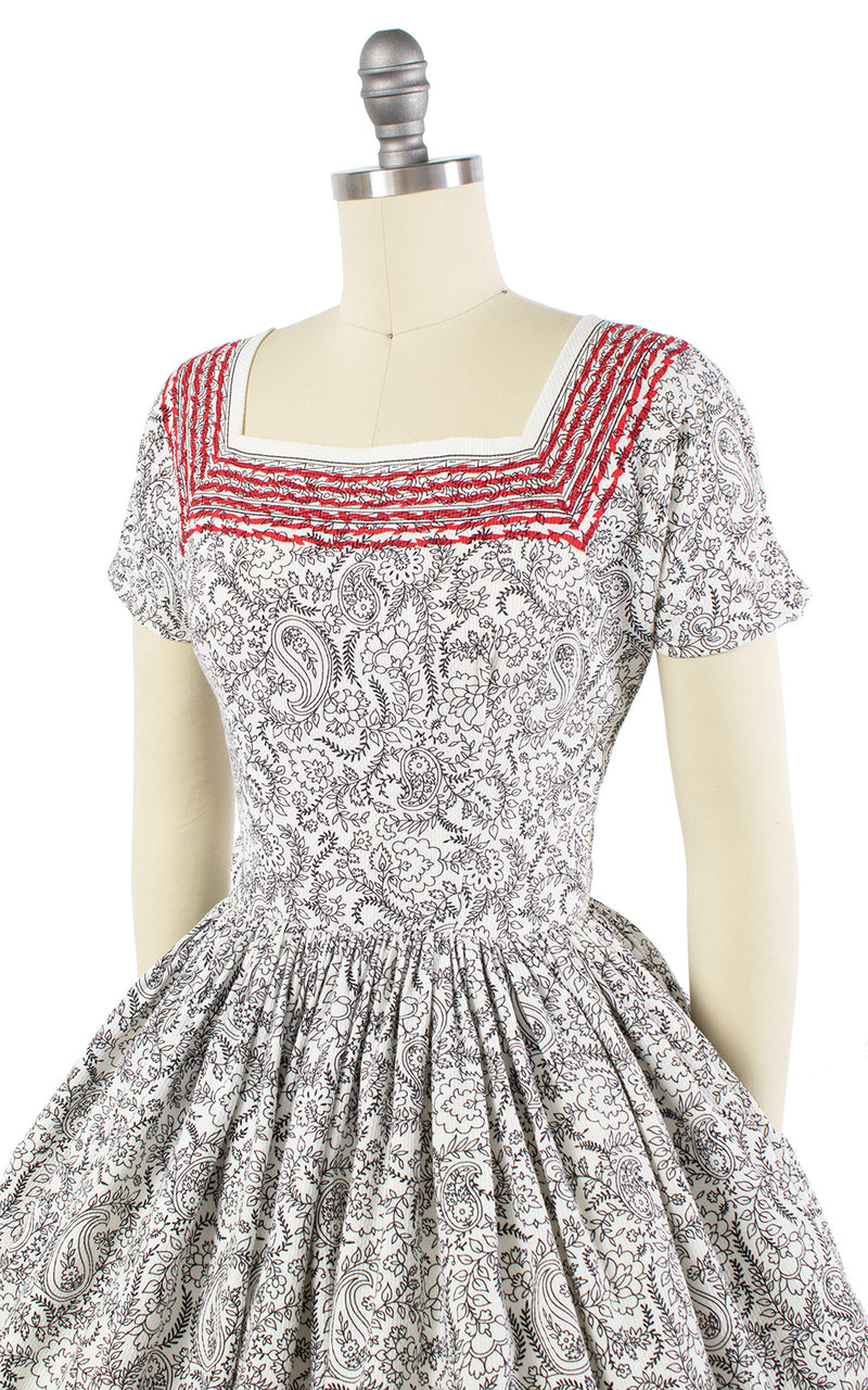 1950s Anne Fogarty Striped Paisley Cotton Dress
