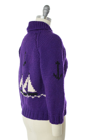1950s Sailboat Novelty Knit Wool Cowichan