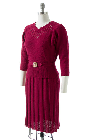 1950s Cranberry Knit Wool Sweater 3-Piece Set