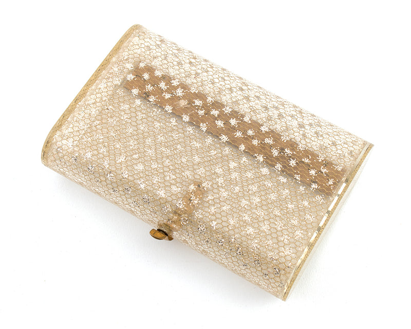 1950s Wilardy Glitter & Gold Honeycomb Clear Lucite Clutch