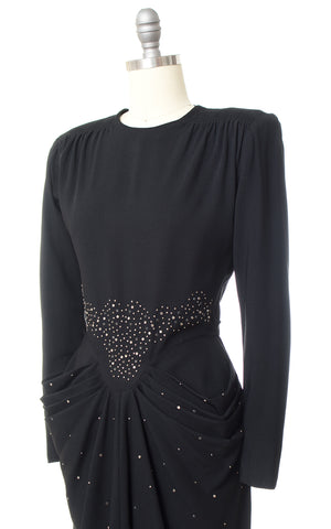 1940s Studs & Rhinestones Rayon Cocktail Dress