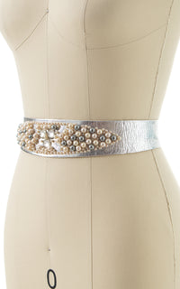 1950s Beaded Silver Leather Cinch Belt