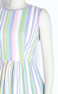 1960s Pastel Striped Cotton Button Back Sundress
