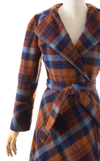 1970s Hooded Plaid Wool Wrap Coat
