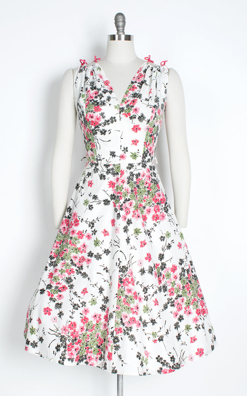 1950s Tie Straps Floral White Cotton Sundress