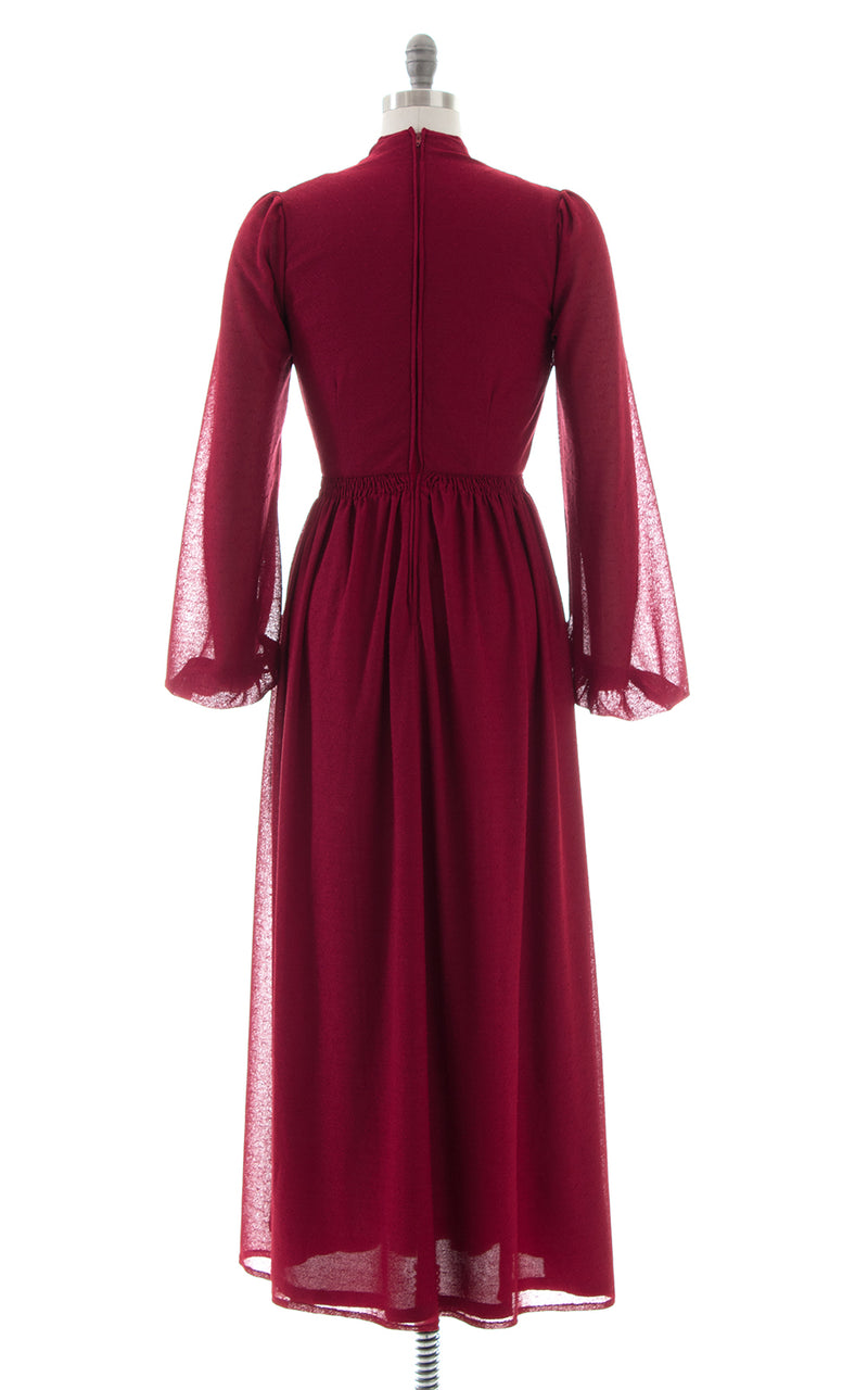 1970s Merlot Bishop Sleeve Maxi Dress