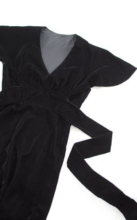 1970s does 1930s Black Velvet Flutter Sleeve Maxi Dress