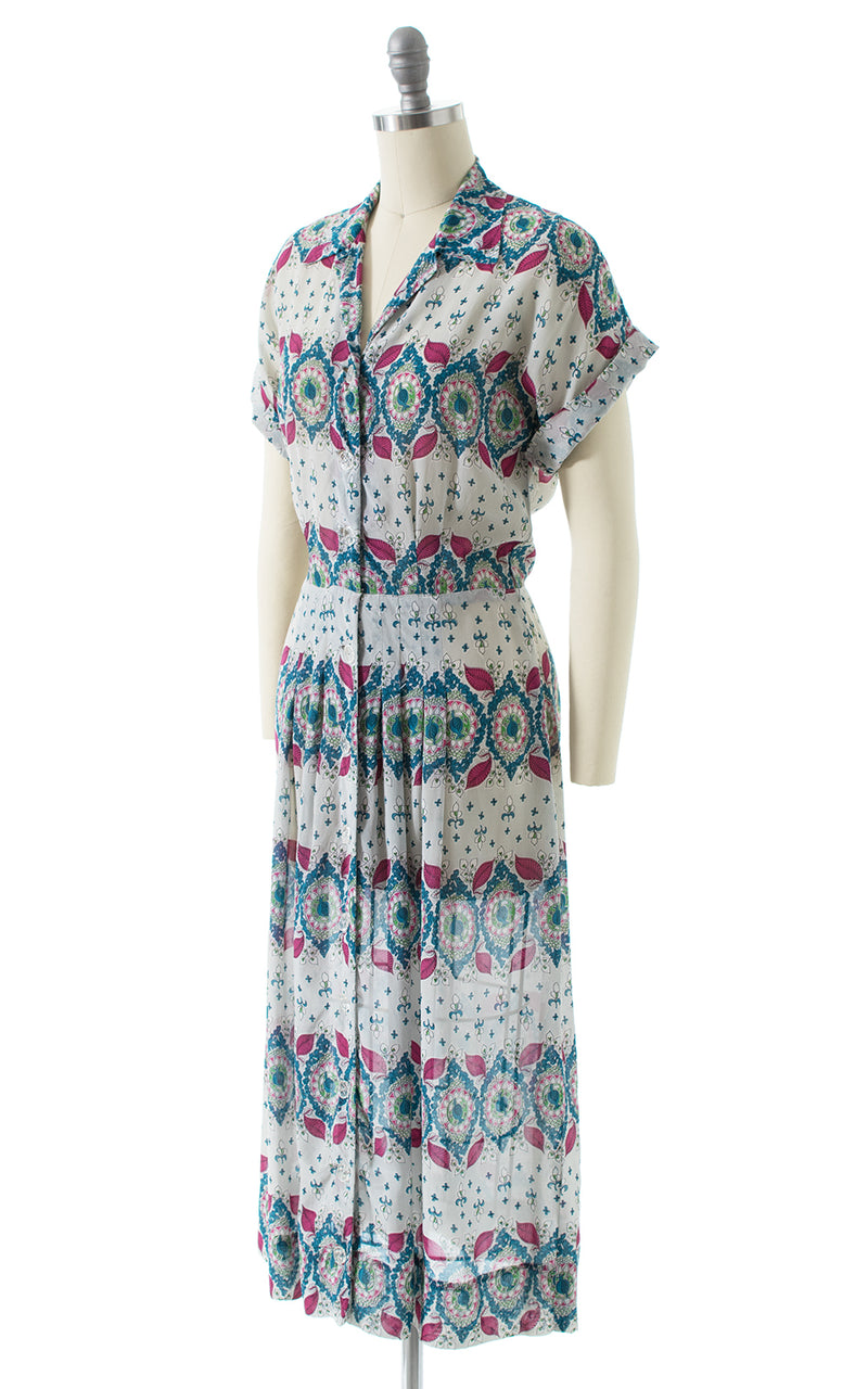 1940s Floral Striped Sheer Rayon Shirtwaist Dress