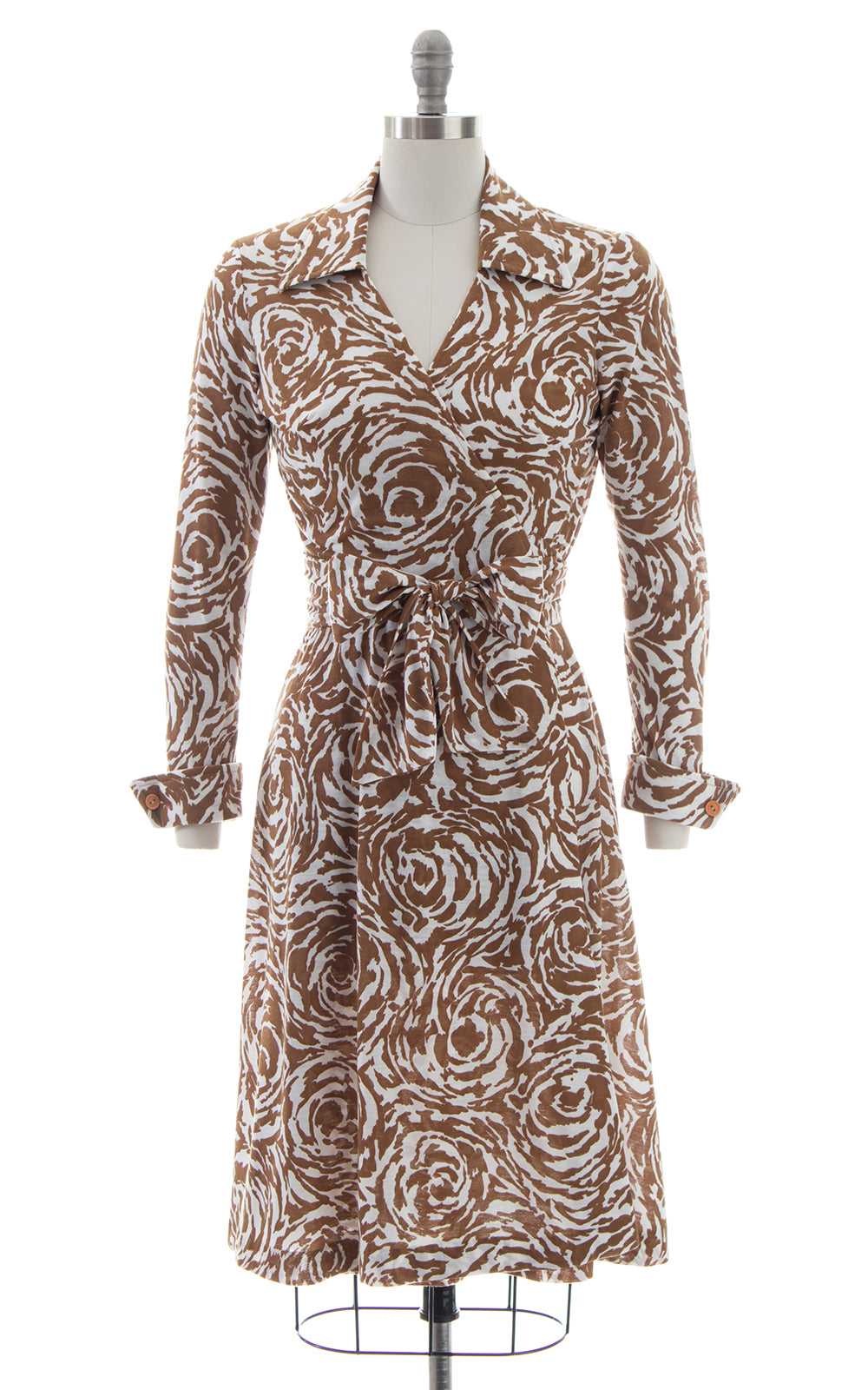 1970s Printed Jersey Knit Wrap Dress