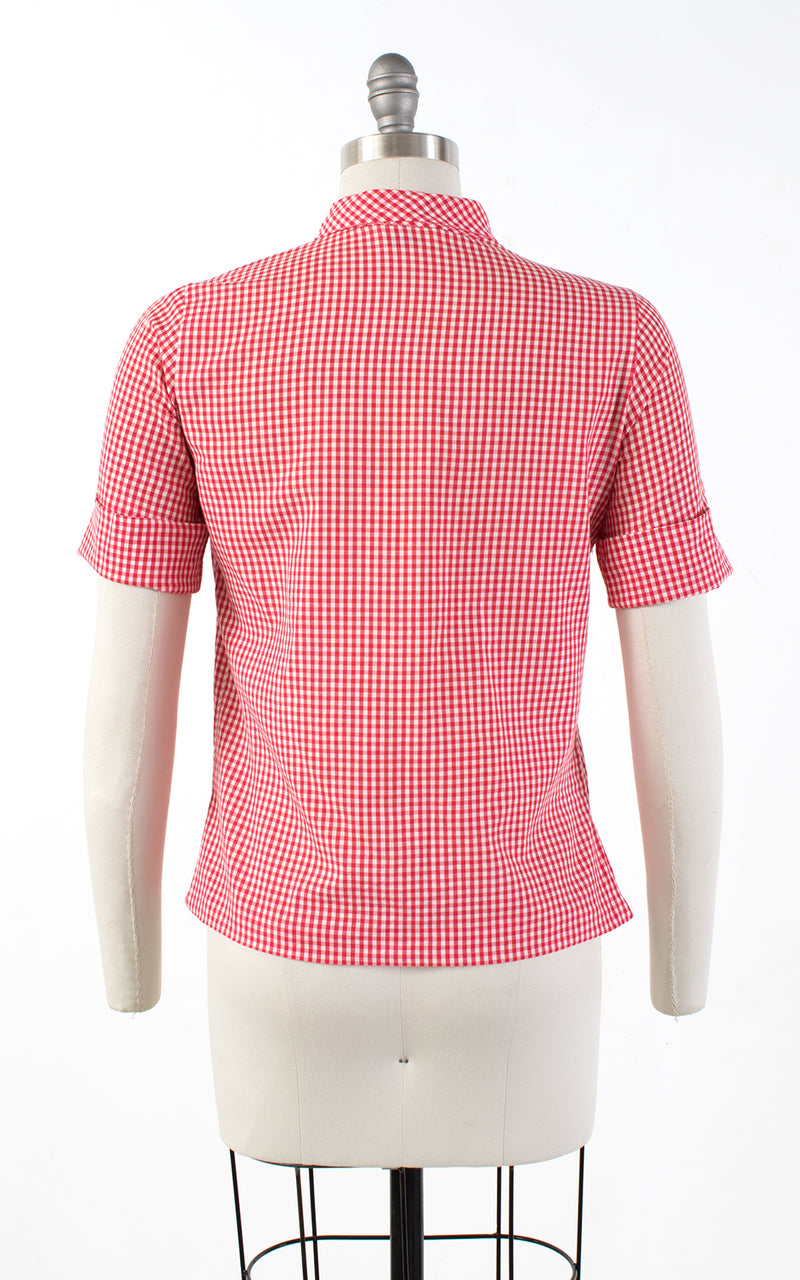1960s Tie Neck Gingham Blouse