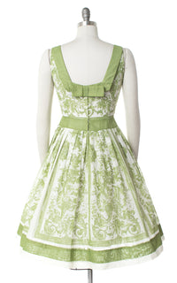 1950s Green Toile Novelty Print Sundress