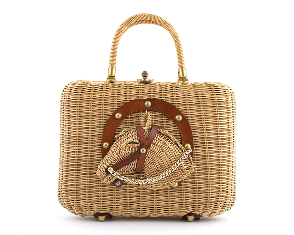 1950s Horse Novelty Wicker Box Purse