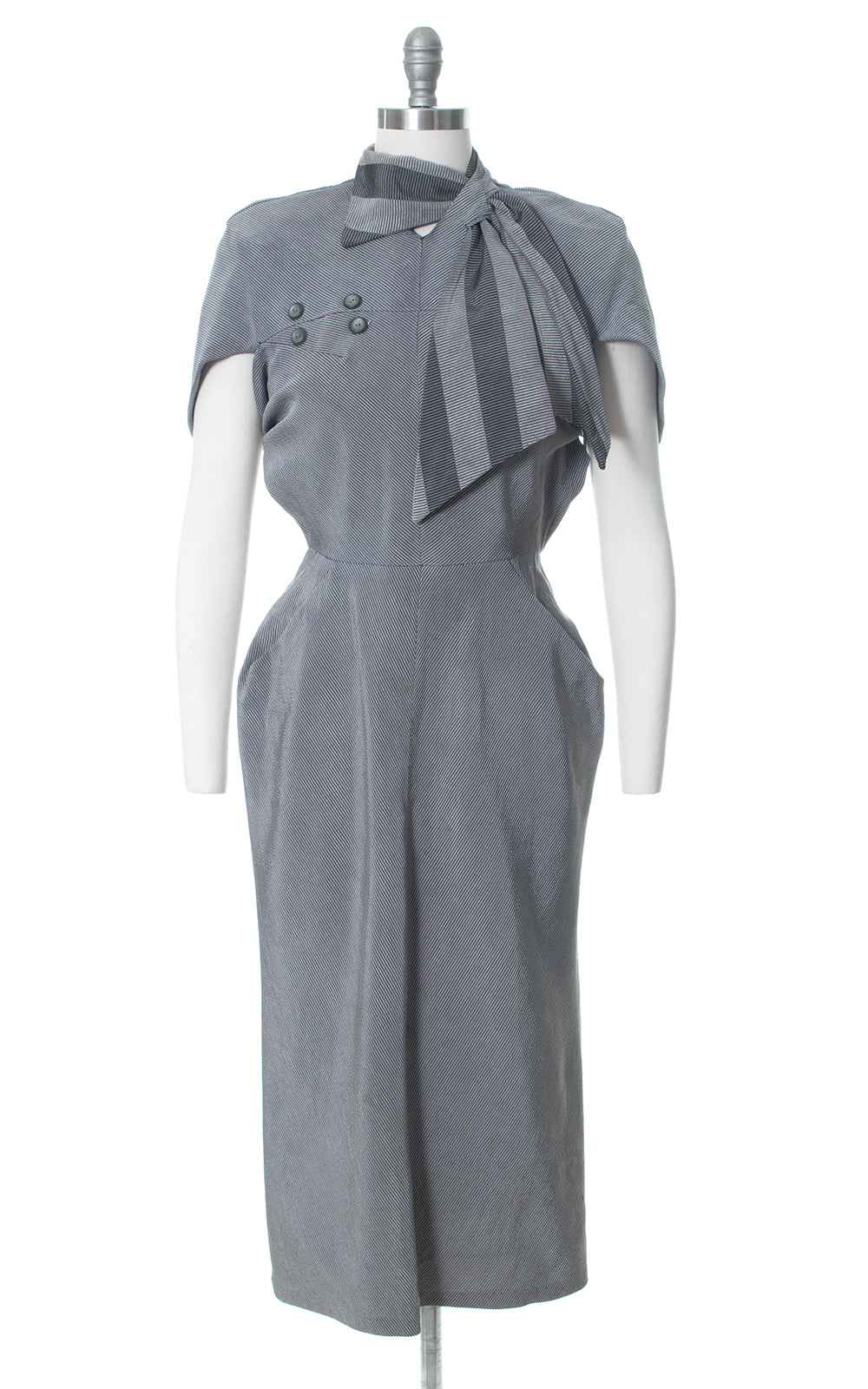1940s Grey Striped Architectural Blade Runner Secretary Dress