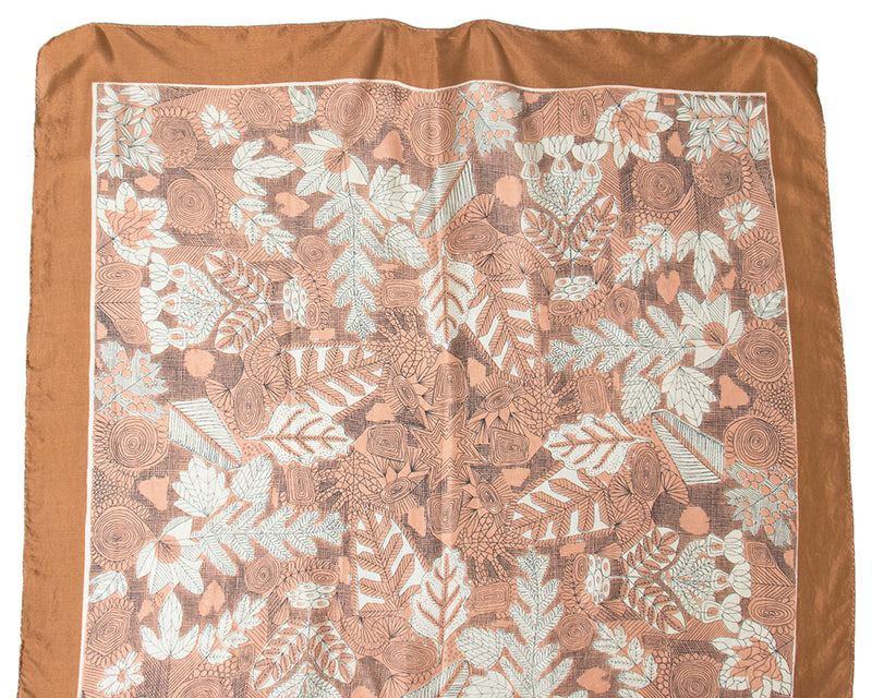1950s Leaf Printed Silk Scarf