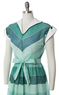 1950s Polka Dot Striped Sheer Dress