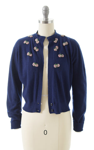 1950s Strawberry Beaded Knit Cashmere Cardigan