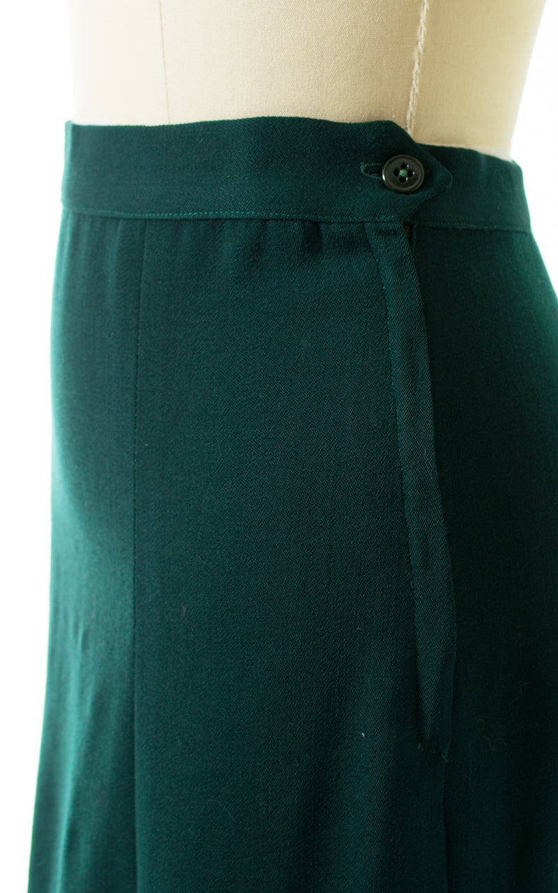 1940s Forest Green Wool Skirt Suit