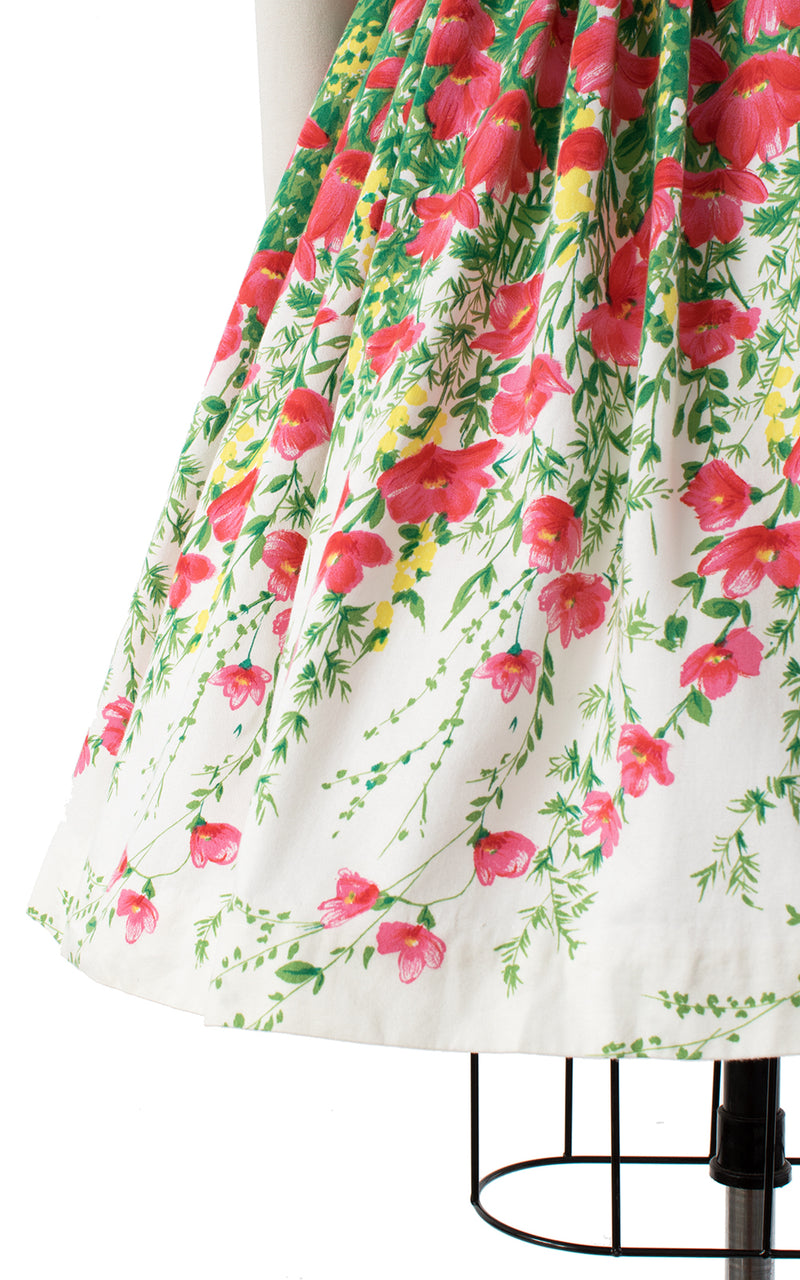 1950s Cascading Poppies Cotton Dress | small