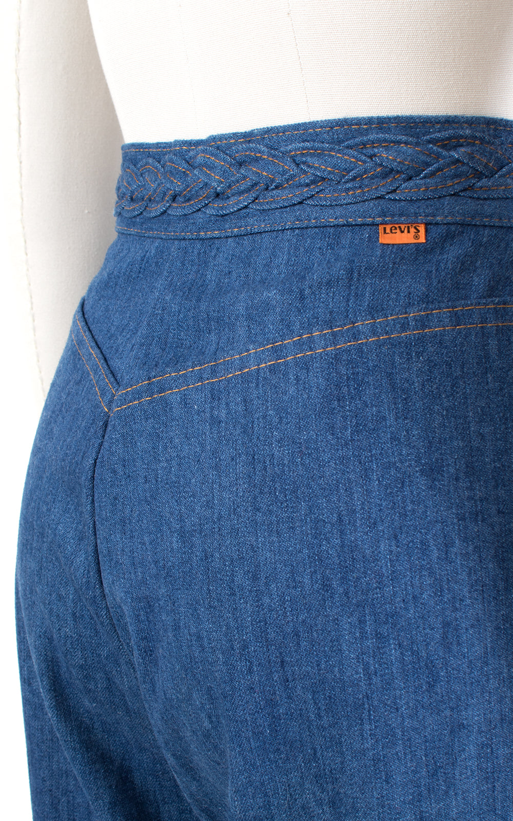 1970s Levis Orange Tab Braided Waist Bell Bottom Jeans
